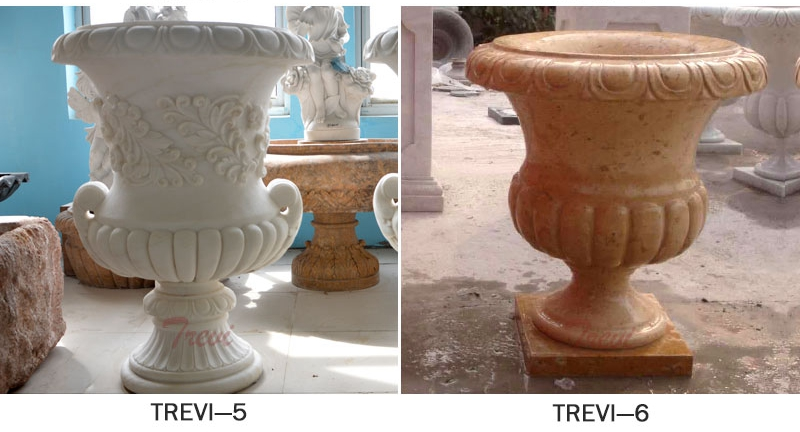 Outdoor White Marble Planter Pots on sales