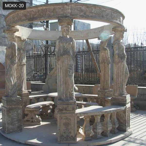 Hot Design Round Gazebo Marble Statue Pavilion with Female for Sale MOKK-20