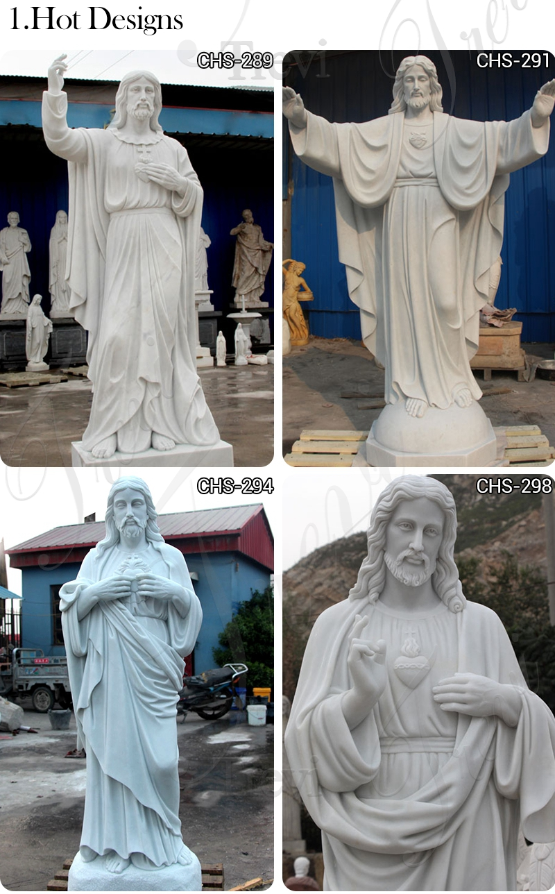 Sacred Heart Jesus Christ White Marble Statue on sale