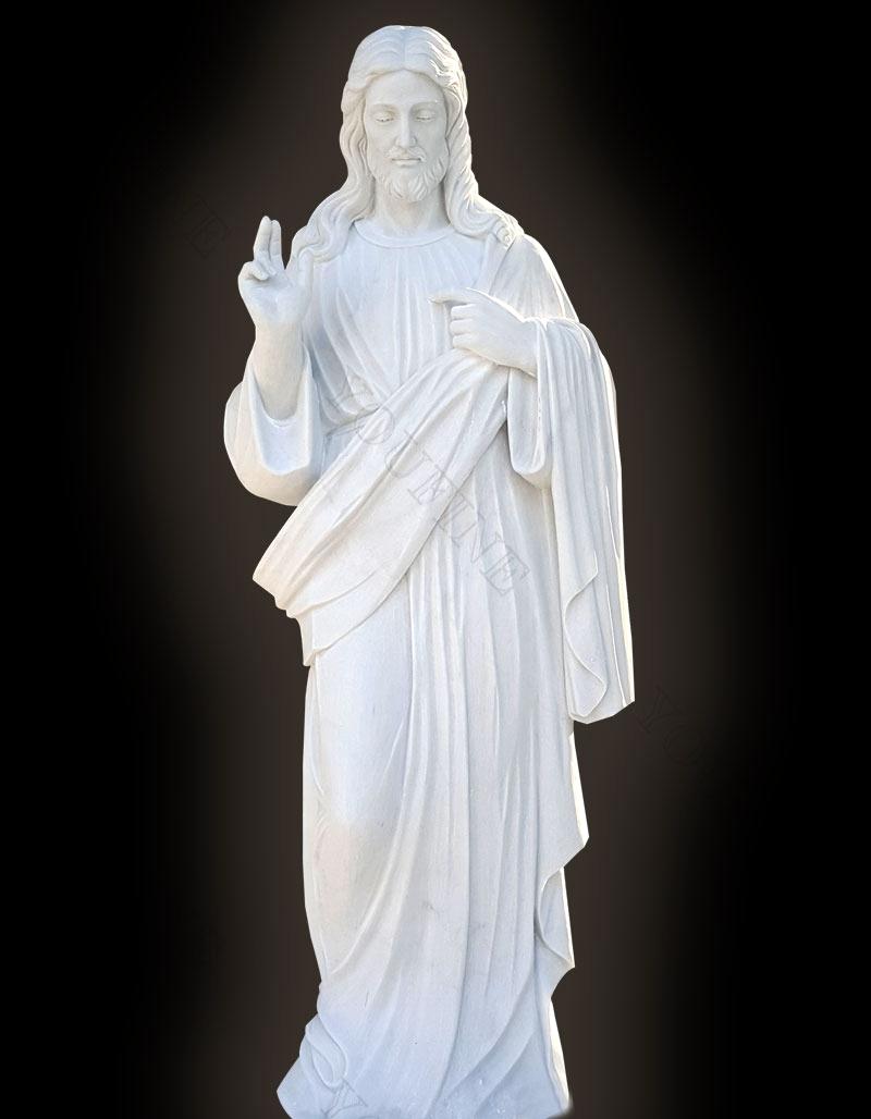 Sacred Heart Jesus Christ White Marble Statue