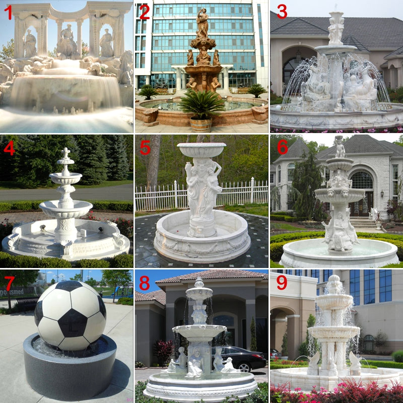 Stone Water Fountain with Female Statue Design