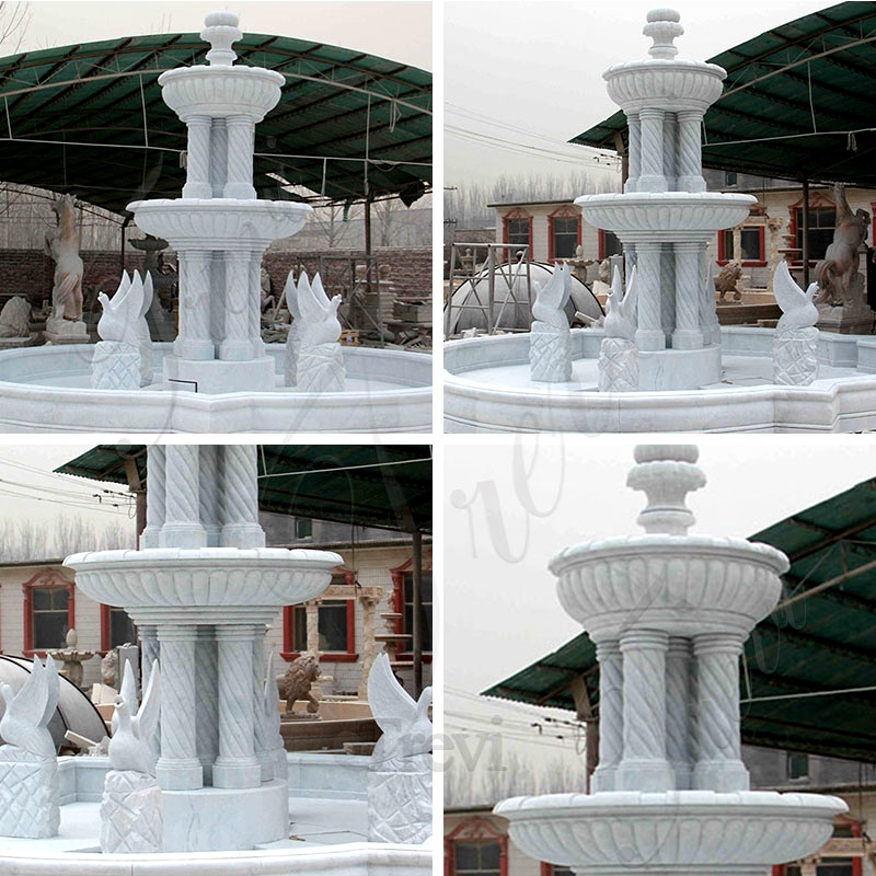 Two Tiered Garden Simple Marble Fountain