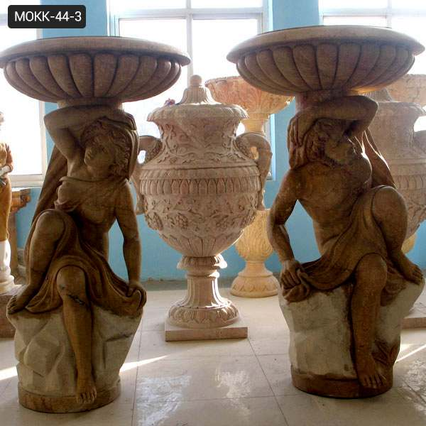 Unique Outdoor Carved Figures Beige Marble Flower Pots for sale