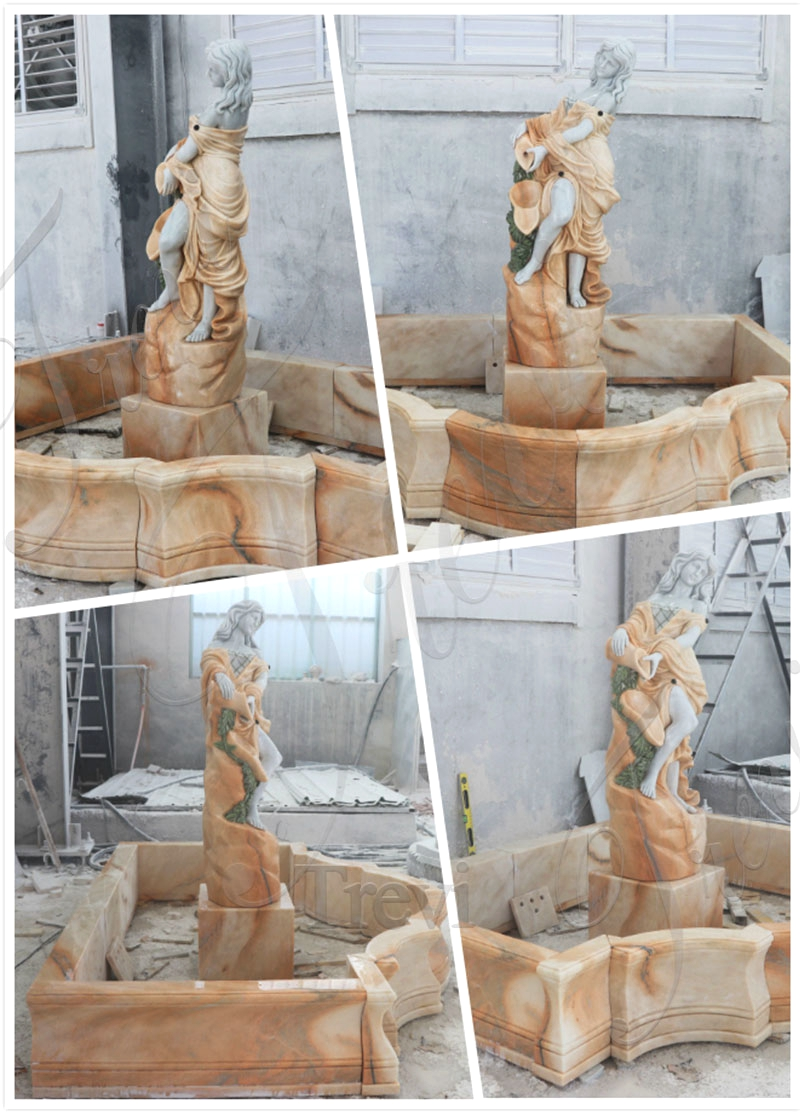 Water Fountain with Female Statue Design