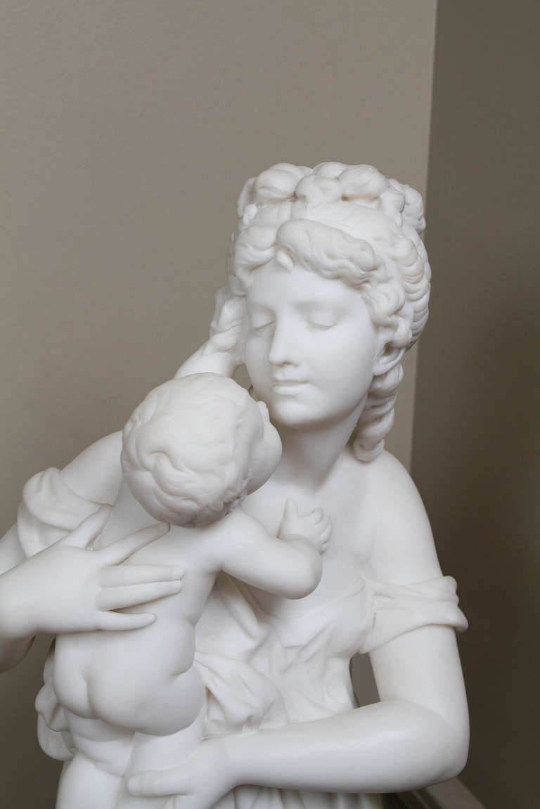 White Marble Belle with Baby Statue for sale