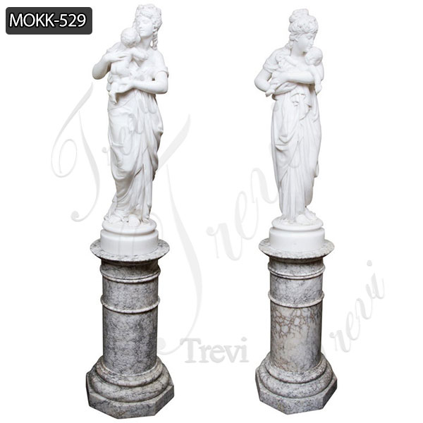 Beautiful Pair of White Marble Belle with Baby Statue for Sale MOKK-529