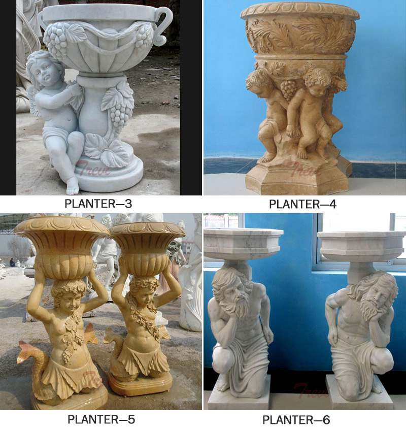 White Marble Carved Statue Planter