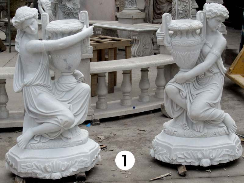 White Marble Carved Statue Planters for sale