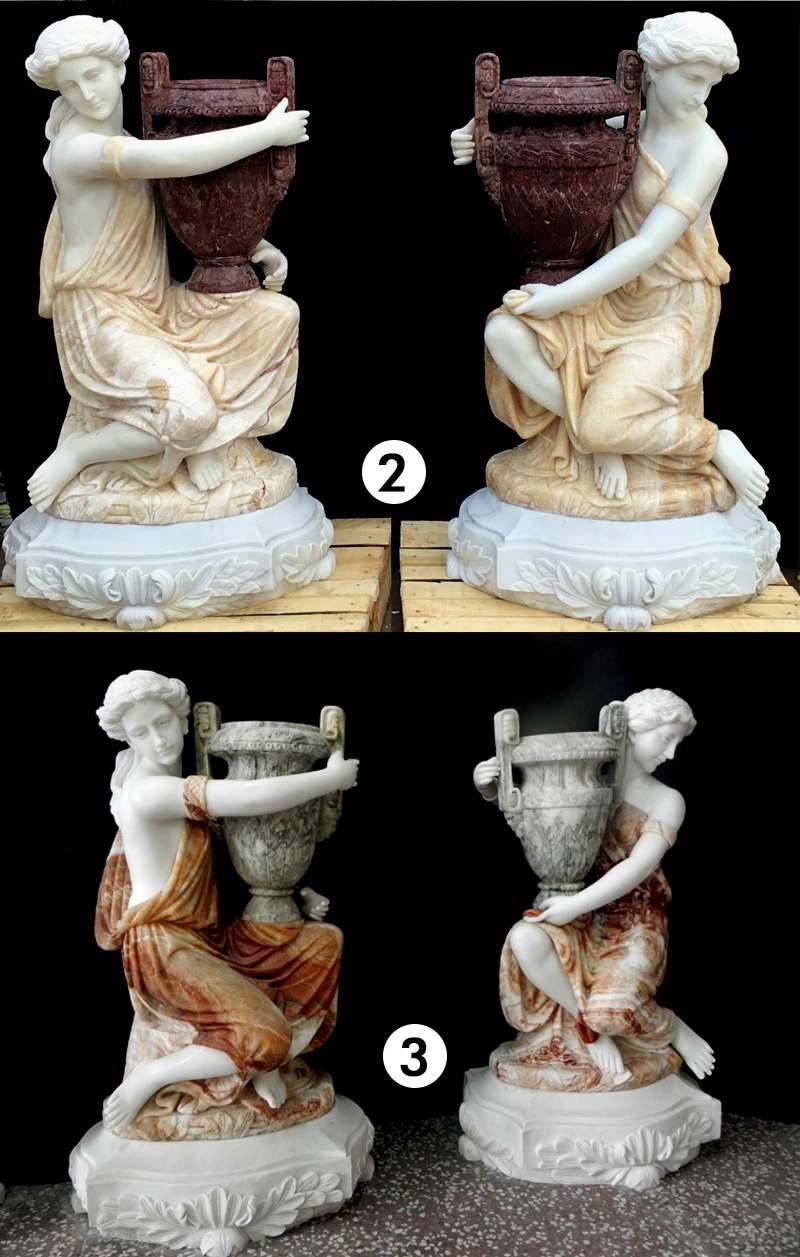 White Marble Carved Statue Planters