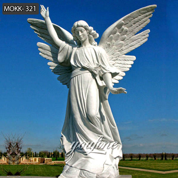 Outdoor Life Size White Marble Female Angel Statue for Garden Decoration on Sale MOKK-321