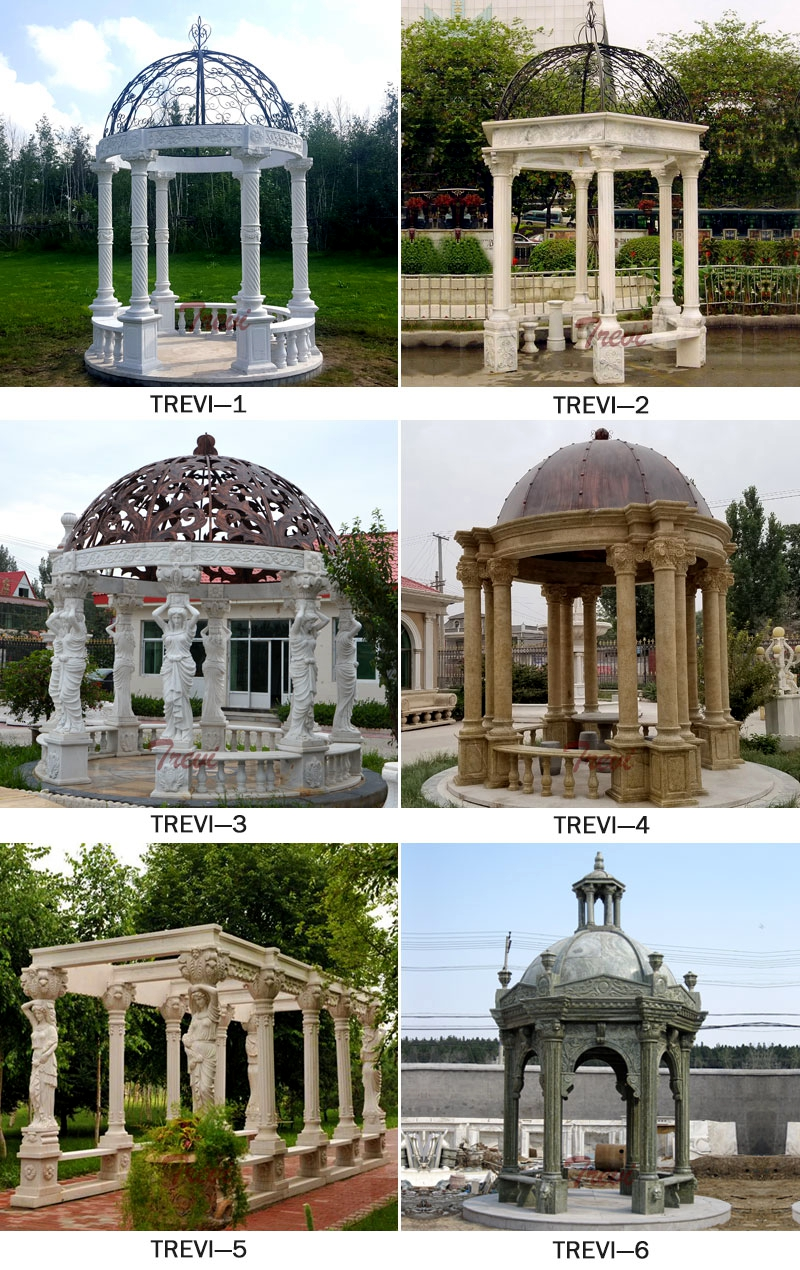 White Marble Gazebo with Carving Figure Sculpture