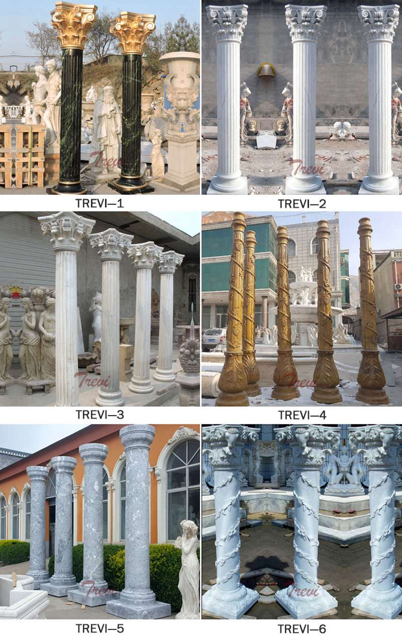 White Marble Pillars Decorative House Pillars for Sale