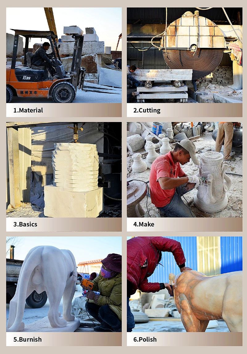 process of China Marble Hand Carved Lion Statues