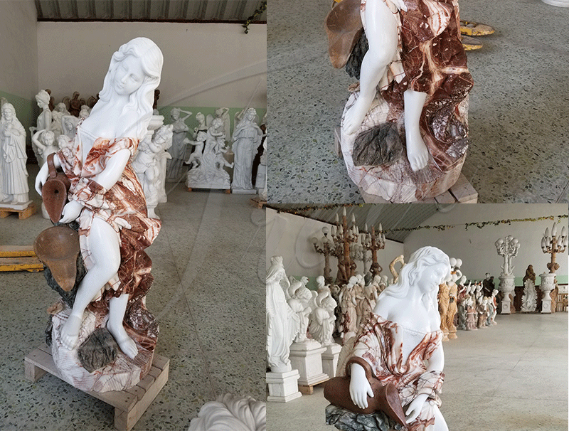 Beautiful Hand Carved with Statuary Marble Fountian Online MOKK-332