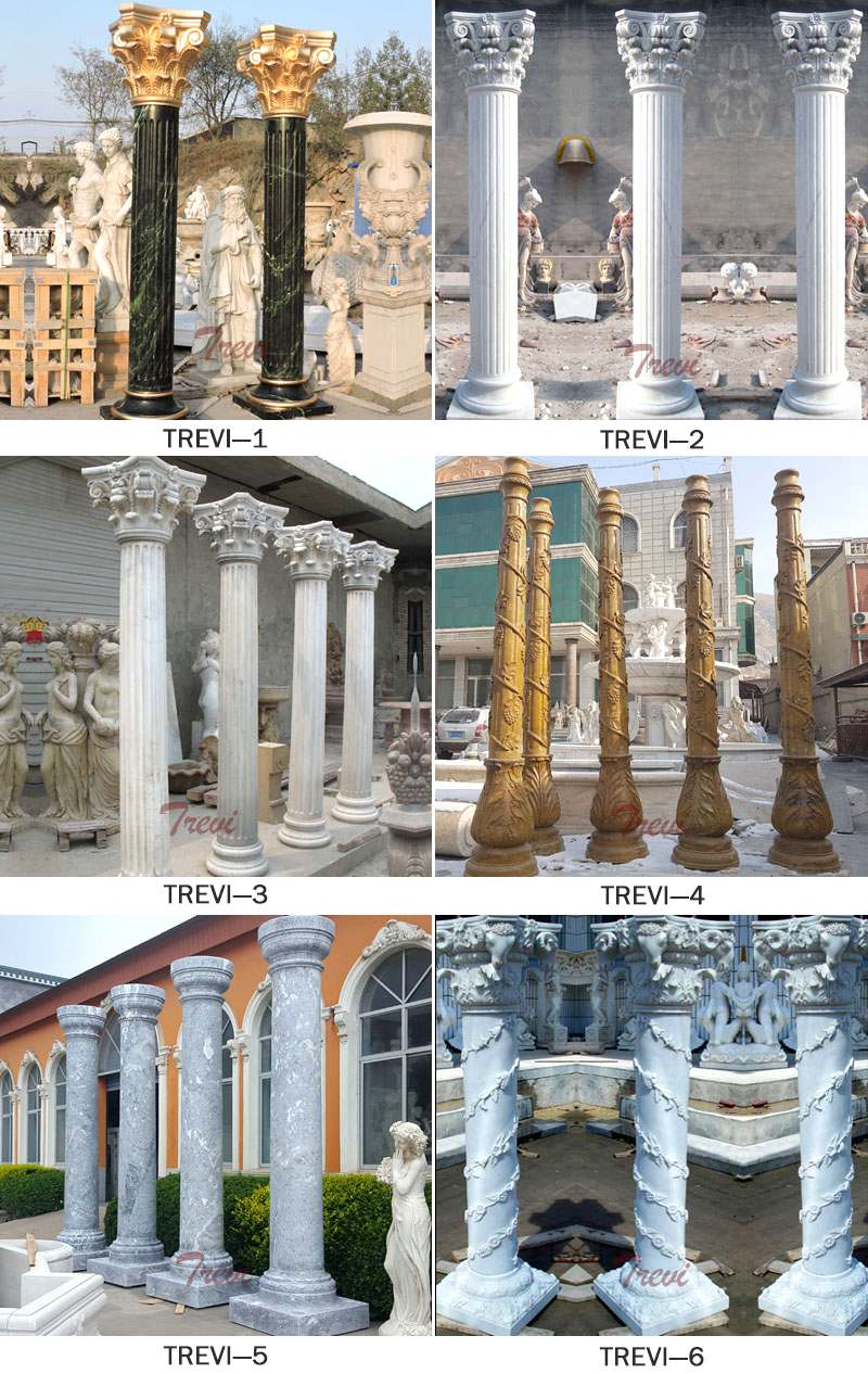 Beige Marble Exterior House Pillars Carved Female Design