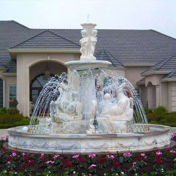 Outdoor Marble Water Fountain with Horse and Baby Statues for Backyard MOKK-174