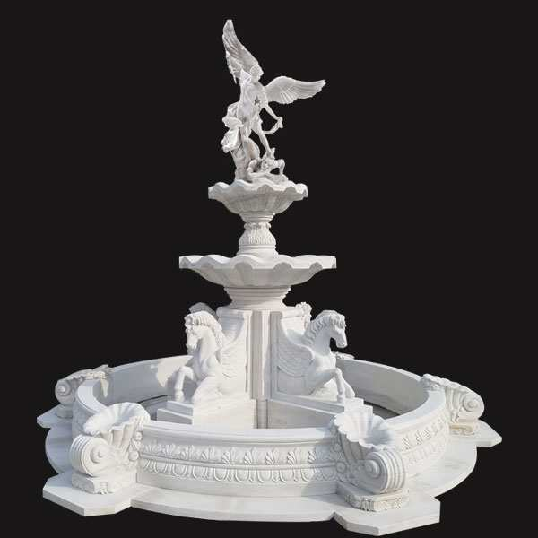 Hand Carved White Marble Fountain with St Michael and Horse Statue MOKK-62