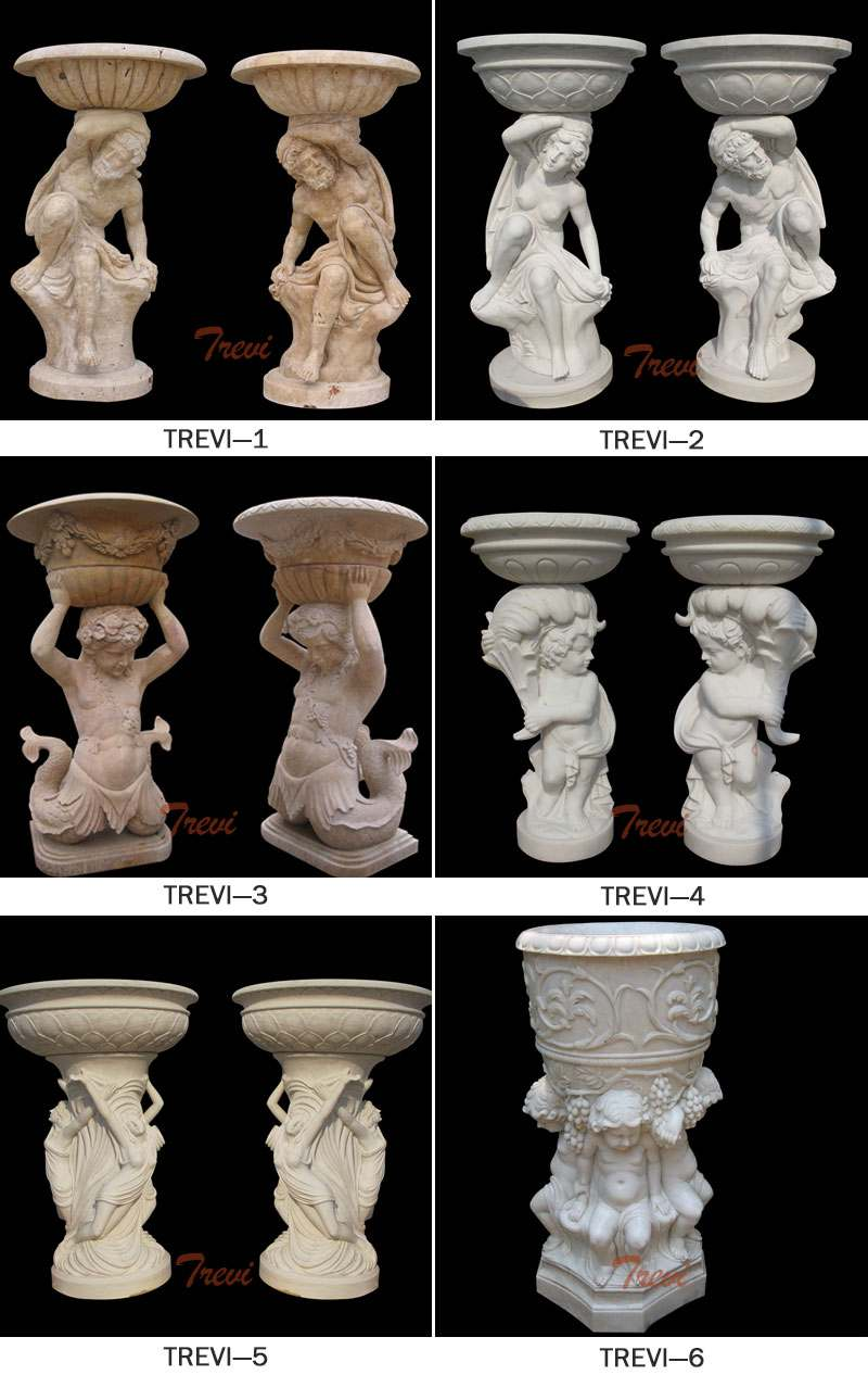 Decoration White Marble Planters with Figure Carving