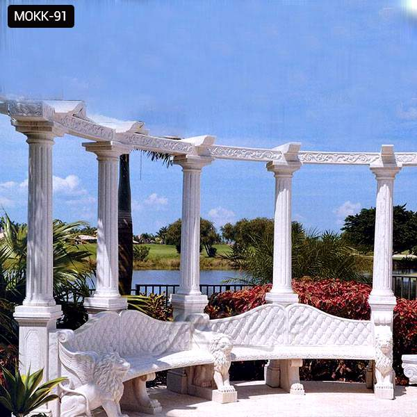 Hand Carved Marble Stone Garden Pavilion with Round Columns  MOKK-91