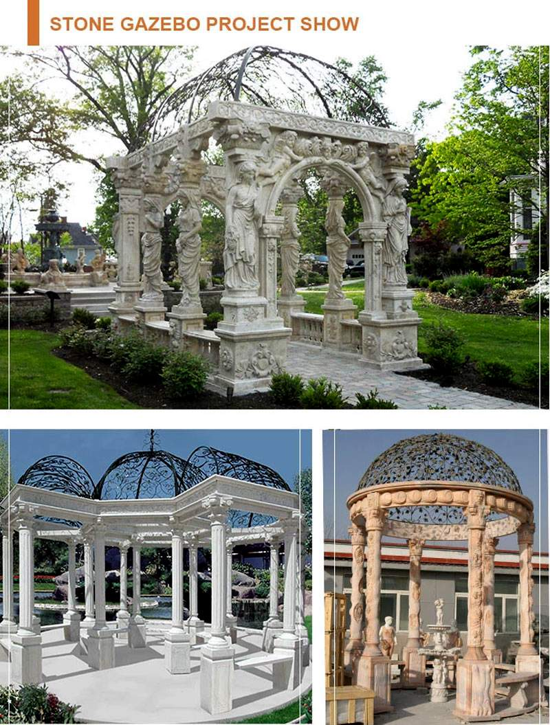 Hand Carved Marble Stone Garden Pavilion with Round Columns