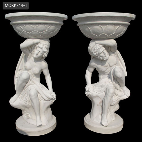 High Quality Decoration White Marble Planters with Figure Carving MOKK-44-1