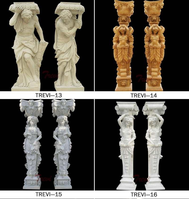 Large Marble Roman Column with Figure Statue Design