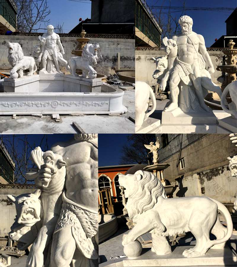 Large-marble-Hercules-fountain-for sale