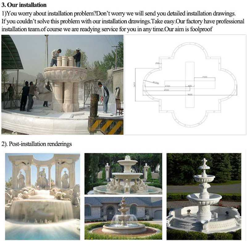 Luxury Marble Garden Decoration Fountain with Figure and Horse Statue