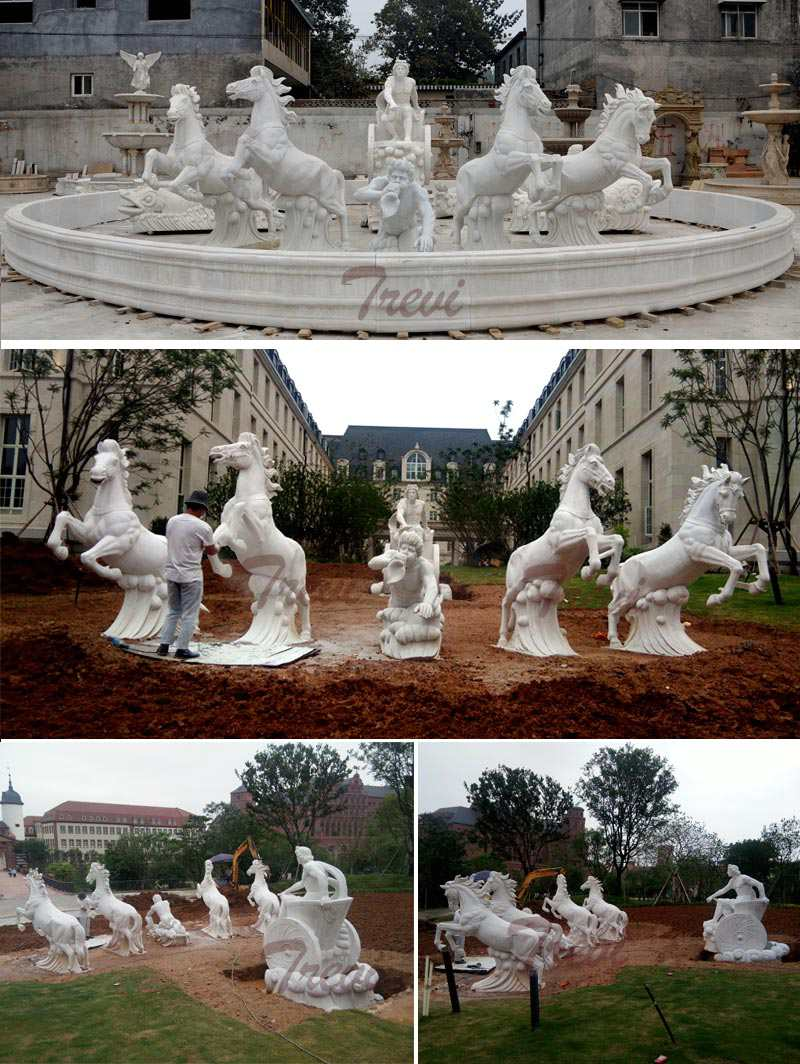 Luxury Marble Garden Decoration Fountain with Figure and Horse Statues