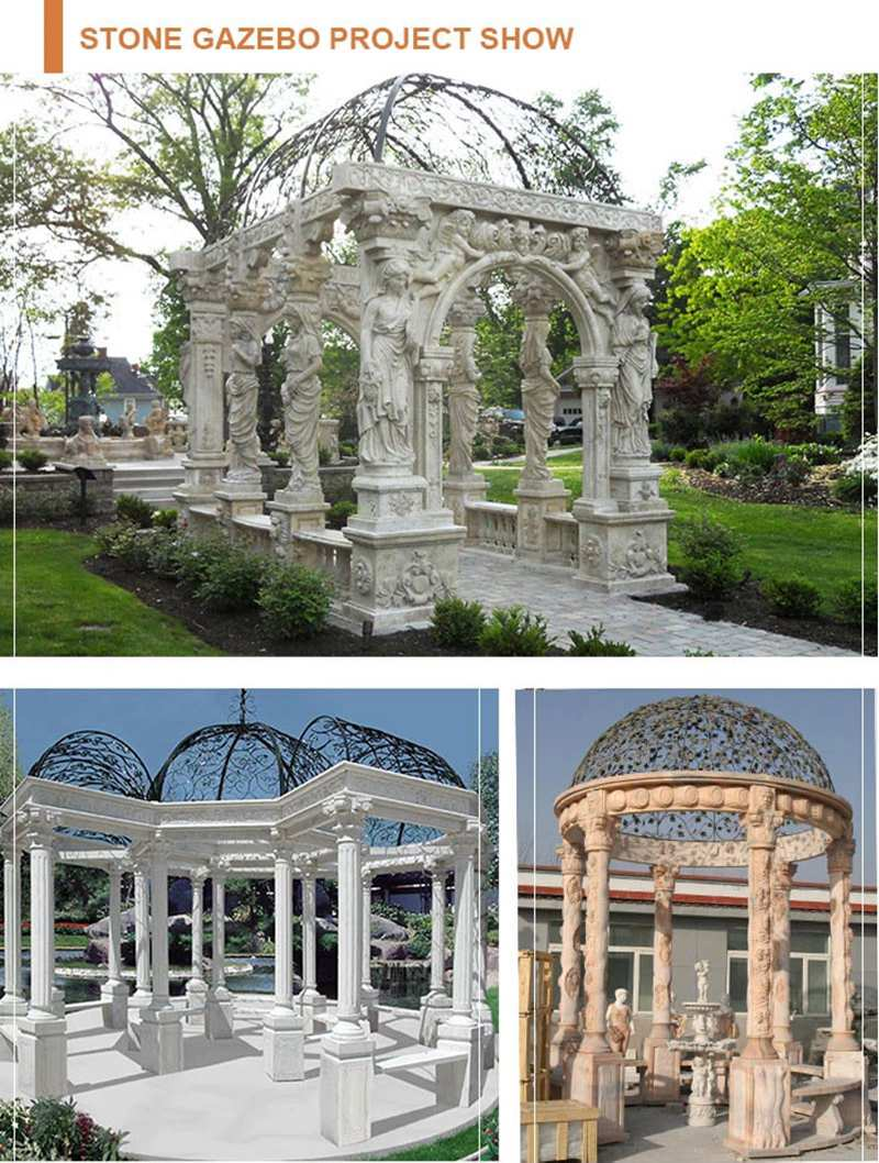 Outdoor Decorative Stone Garden Gazebo from Factory Supply for sale