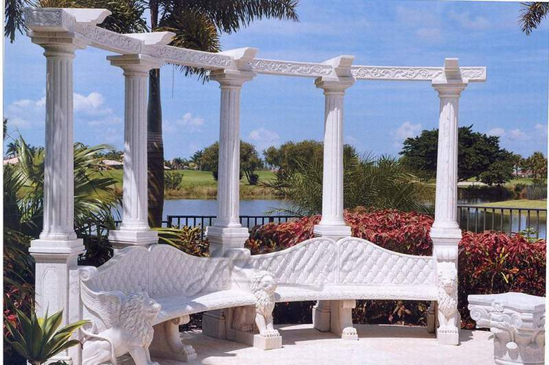 Outdoor-garden-decorative-marble-gazebo-with-bench