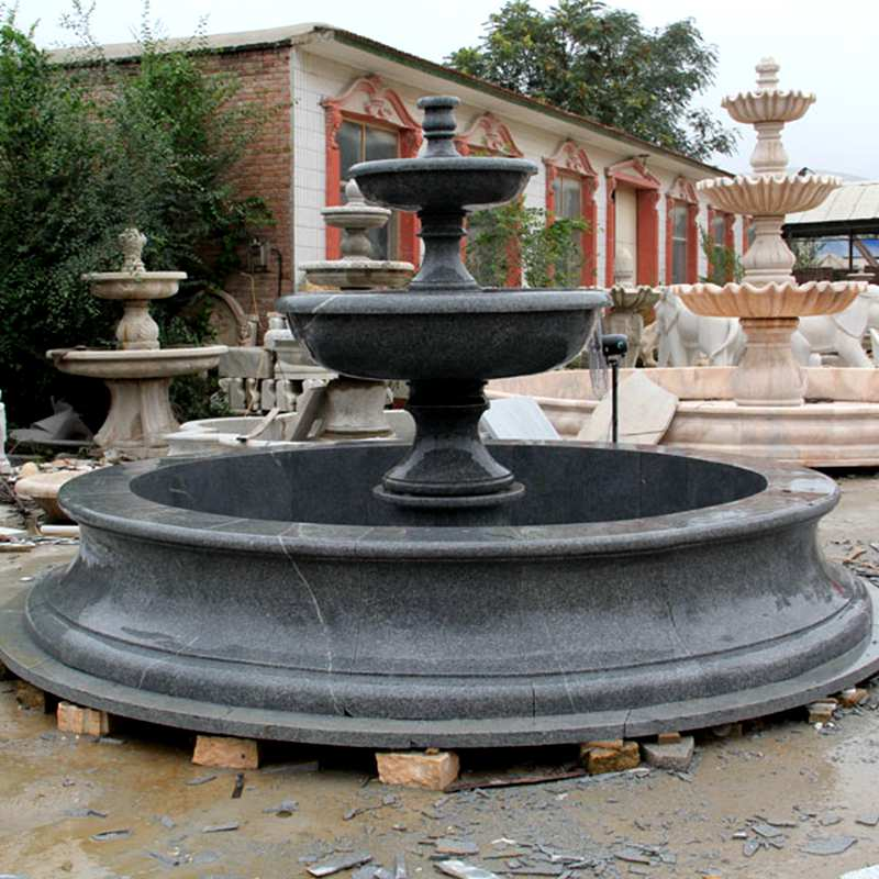 Outdoor high quality black small life size two tiered garden fountain hand carved marble fountain for sale