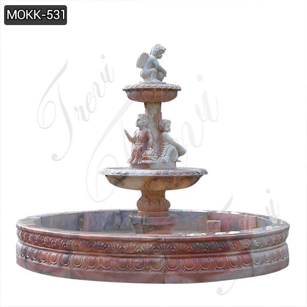 Two Tiered Natural Stone Water Fountain Carved Angel Statues MOKK-531