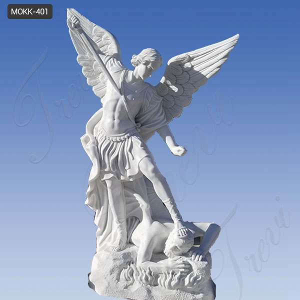 White Marble Catholic St Michael the Archangel Outdoor Statue MOKK-401