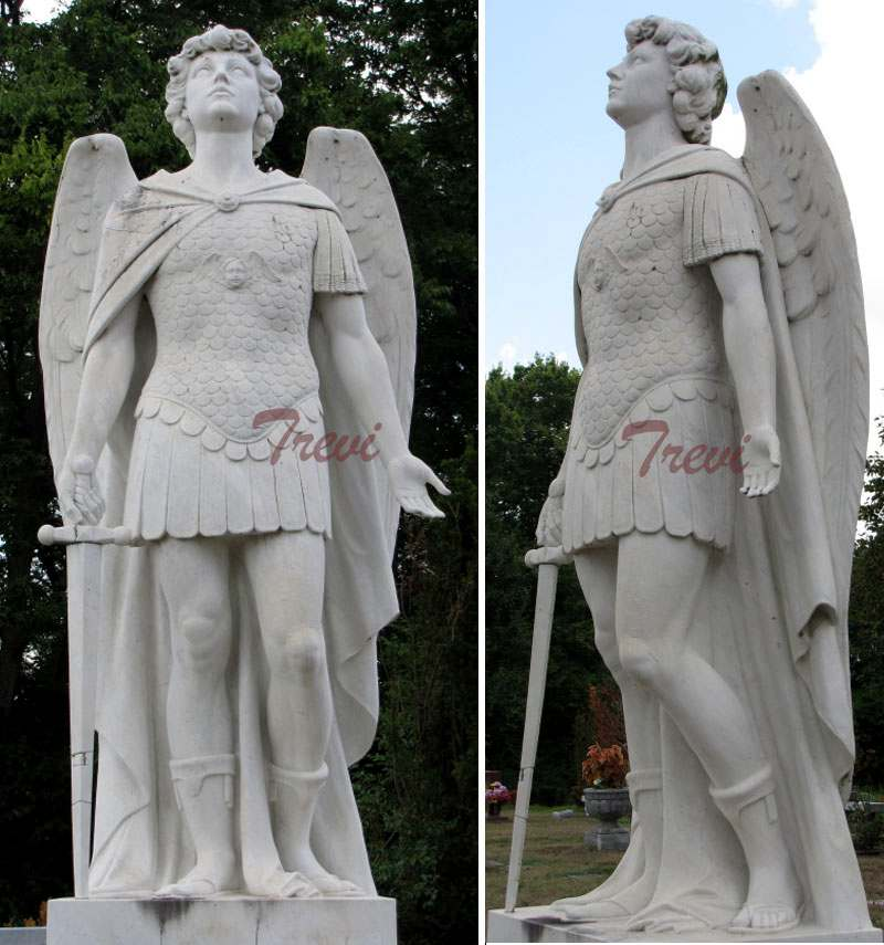 White Marble St Michael Statue Guardian Angel Statues CHS-735