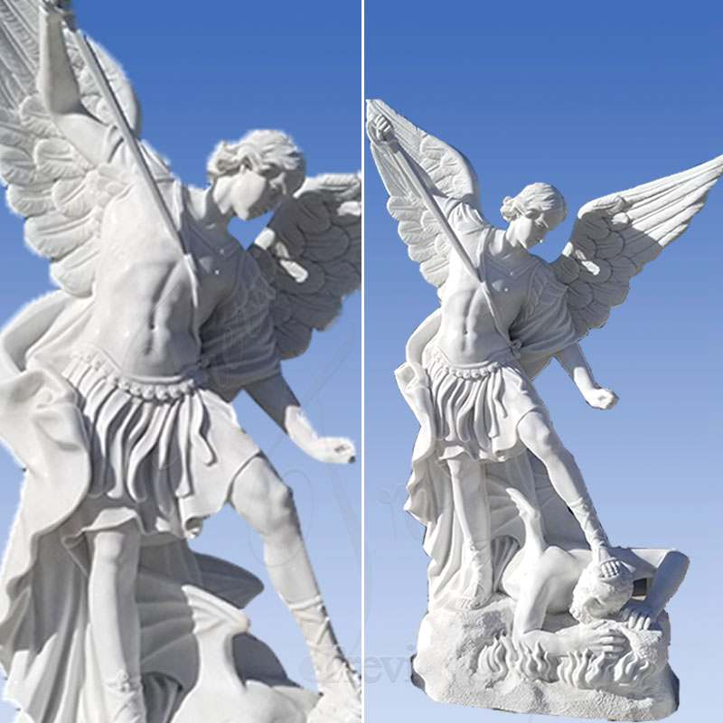 White Marble St Michael the Archangel Outdoor Statue