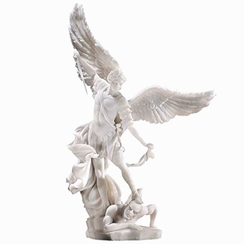 custom made outdoor pure white marble fountain with saint micheal statue for sales