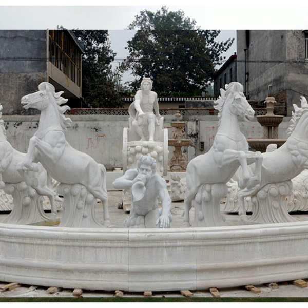 Luxury Marble Garden Decoration Fountain with Figure and Horse Statues MOKK-58