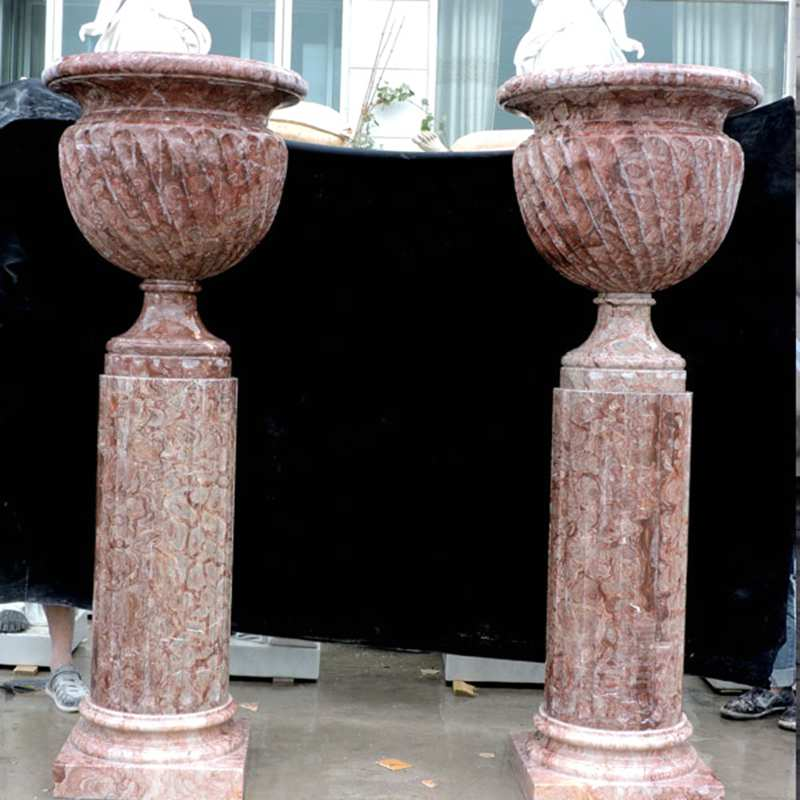 marble manufacturer supply unique tall elegant design marble flower pots and planters with deep basin for decor