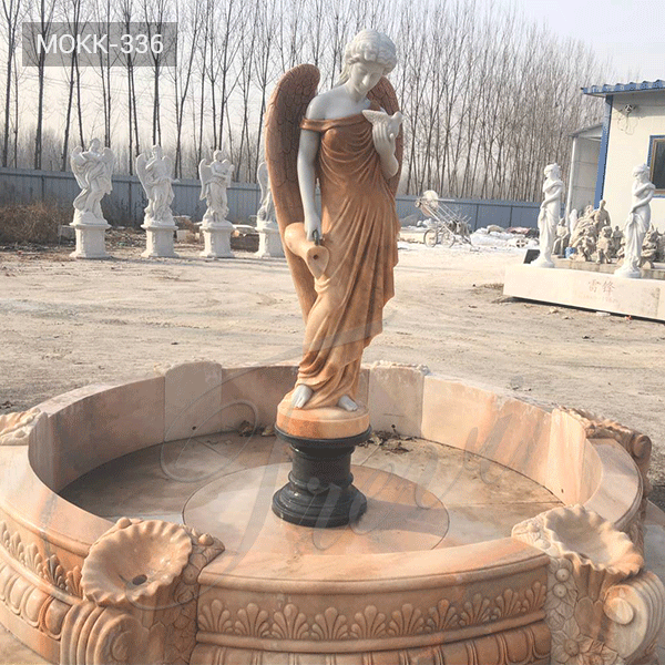 Custom Made Outdoor Marble Fountain with Angle Statue Supplier MOKK-336
