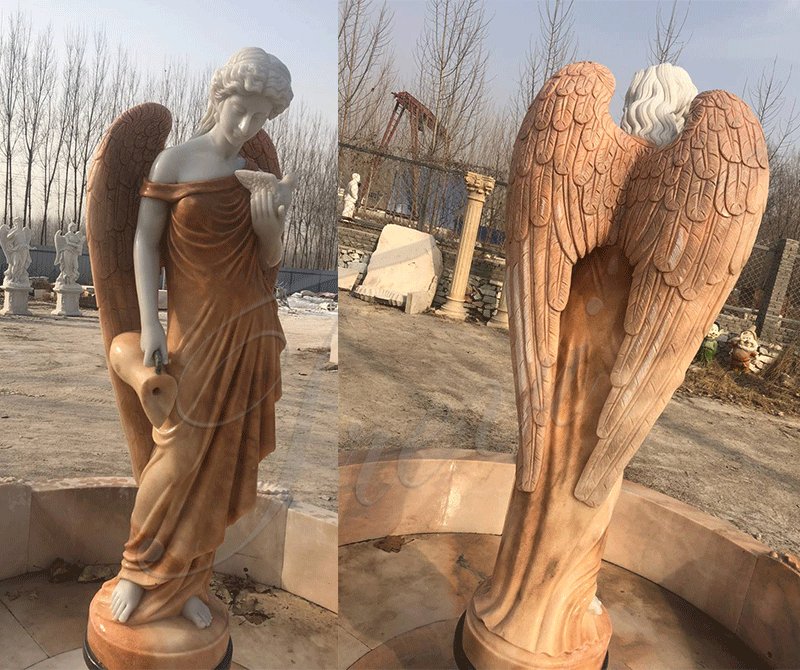 Custom Made Outdoor Marble Fountain with Angle Statue