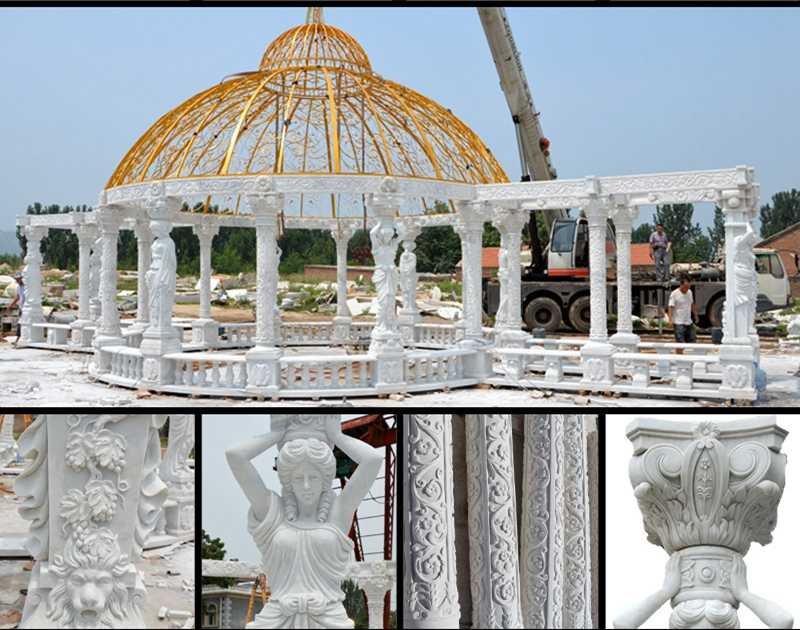 Cheap Outdoor Marble Round Gazebo with Top