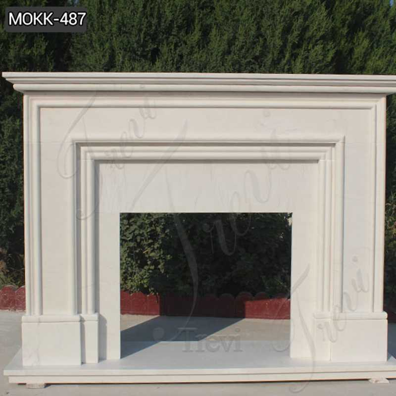Contemporary Simple White Marble Fireplace Mantel Design for Sale
