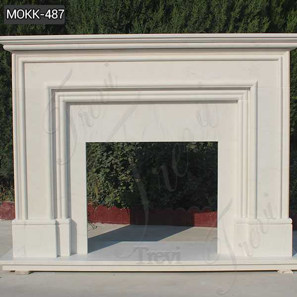 Contemporary Simple White Marble Fireplace Mantel Design for Sale MOKK-487