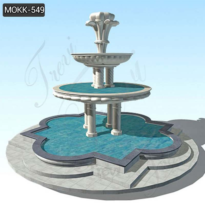 Custom Made Marble Stone Tiered Water Fountain