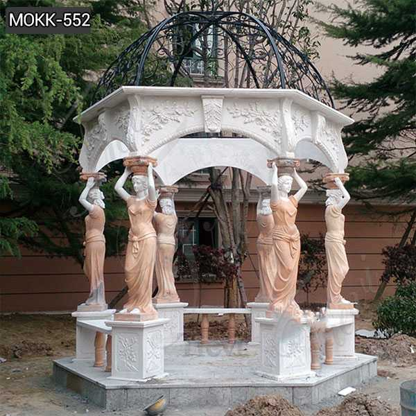 Hand Carved Marble Stone Gazebo with Lady Statue from Factory Supply MOKK-552