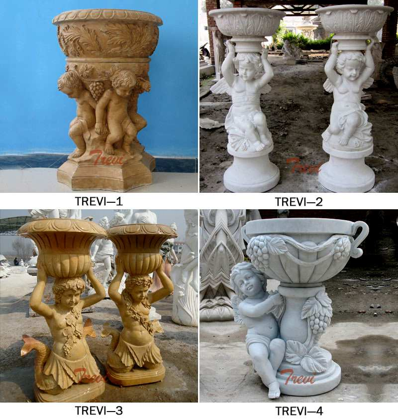 Hand Carved White Marble Planters with Baby Angel Staute for Sale