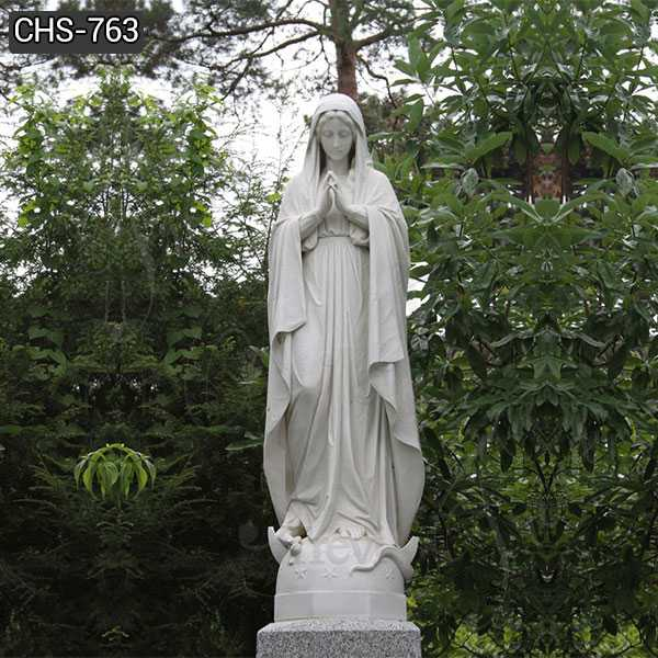 Hand Carved White Marble Virgin Mary Statue for School Decor CHS-763