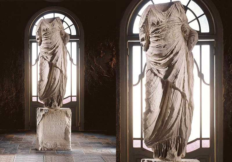 Large Marble Draped Torso of Goddess Statue Venus
