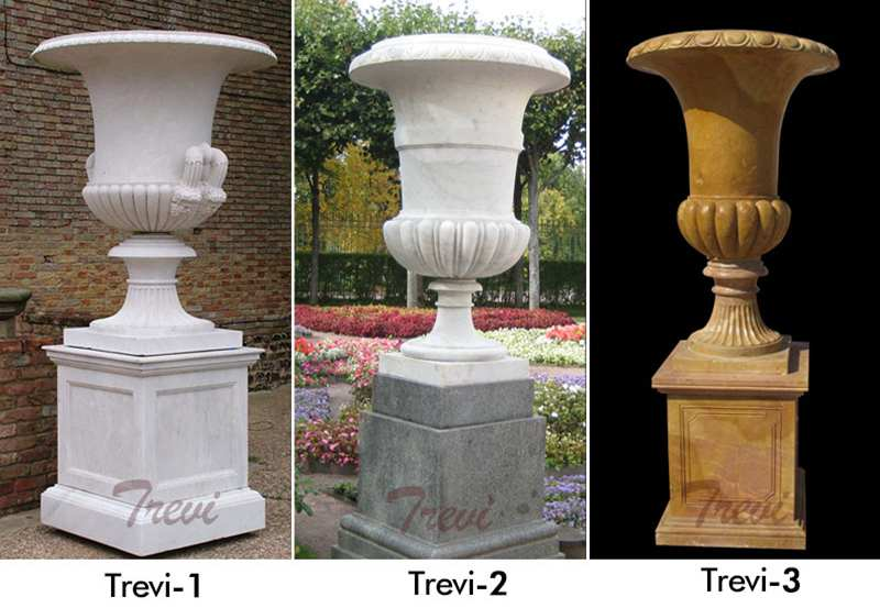Large White Marble Flower Pots with Deep Basin